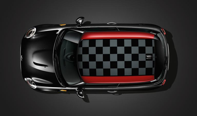 JCW chequered roof from the top down